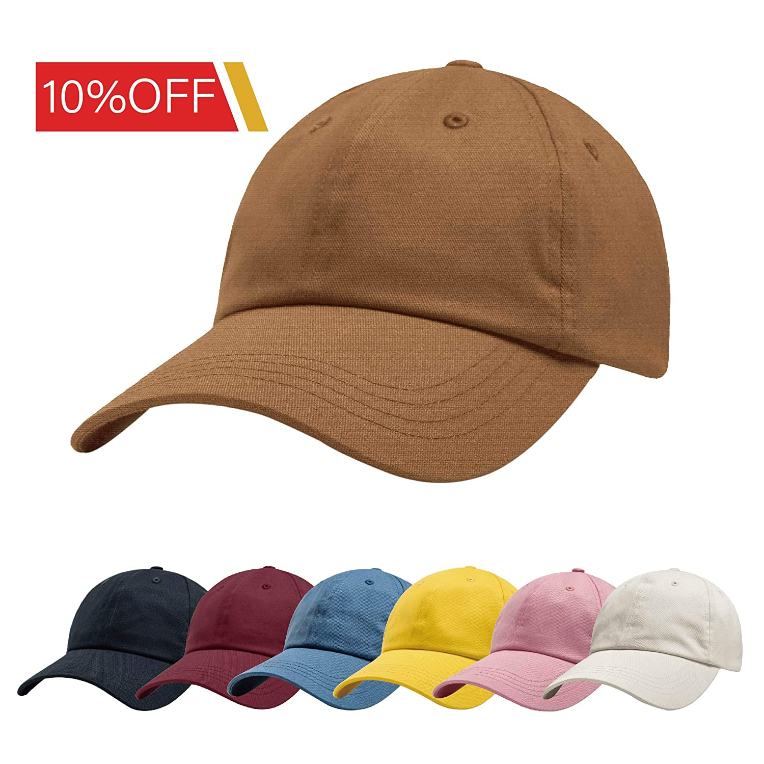 ZOWYA Classic Cotton Plain Baseball Cap-Dad Hat-Polo Cap-Casual Cap-Unisex-Adjustable Size-Unstructured-Soft