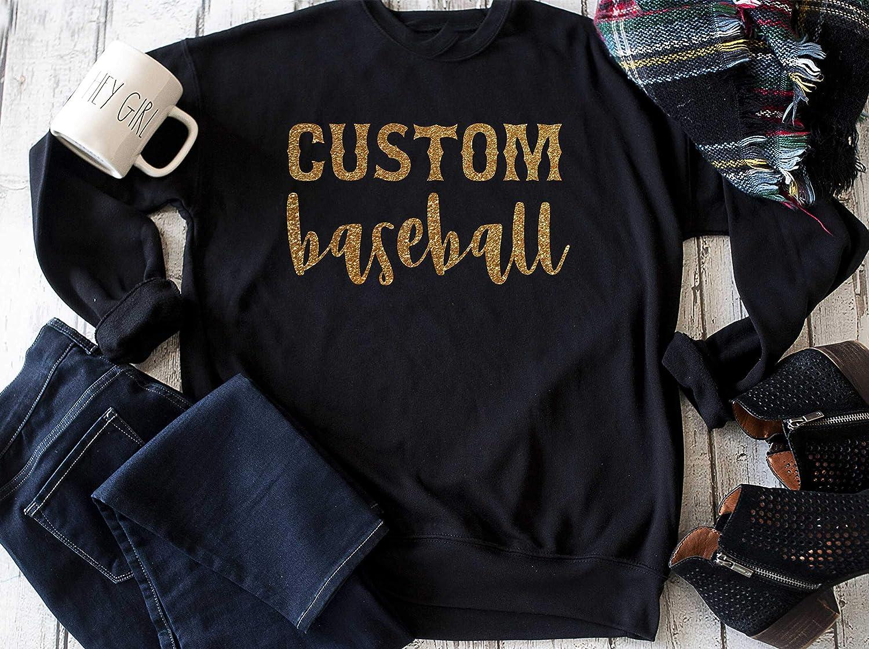 0eb9abf2 Amazon.com: Custom baseball sweatshirt, personalized baseball mom shirt,  sports top, womens athletic customized sweater: Handmade