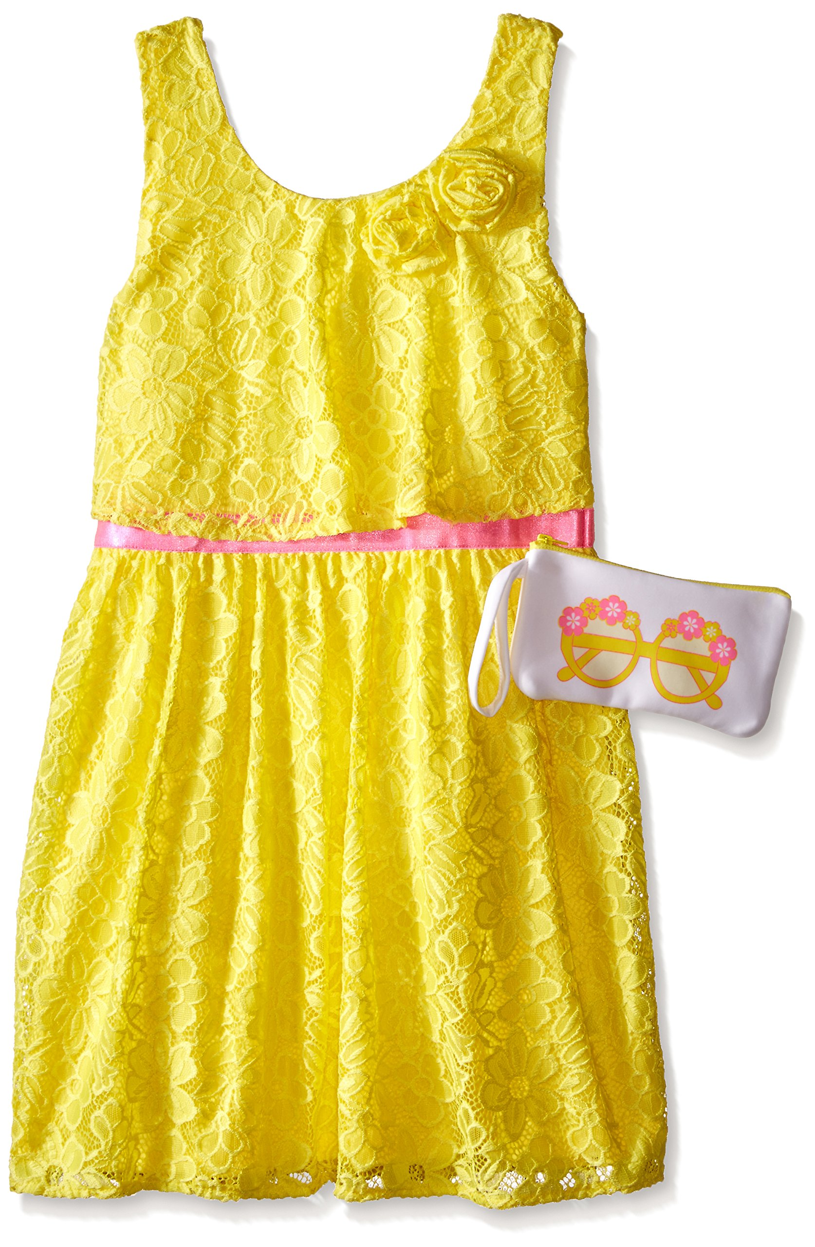 Pogo Club Big Girls Weekend in Newport Lace Dress with Bag Sun Yellow Small/7/8