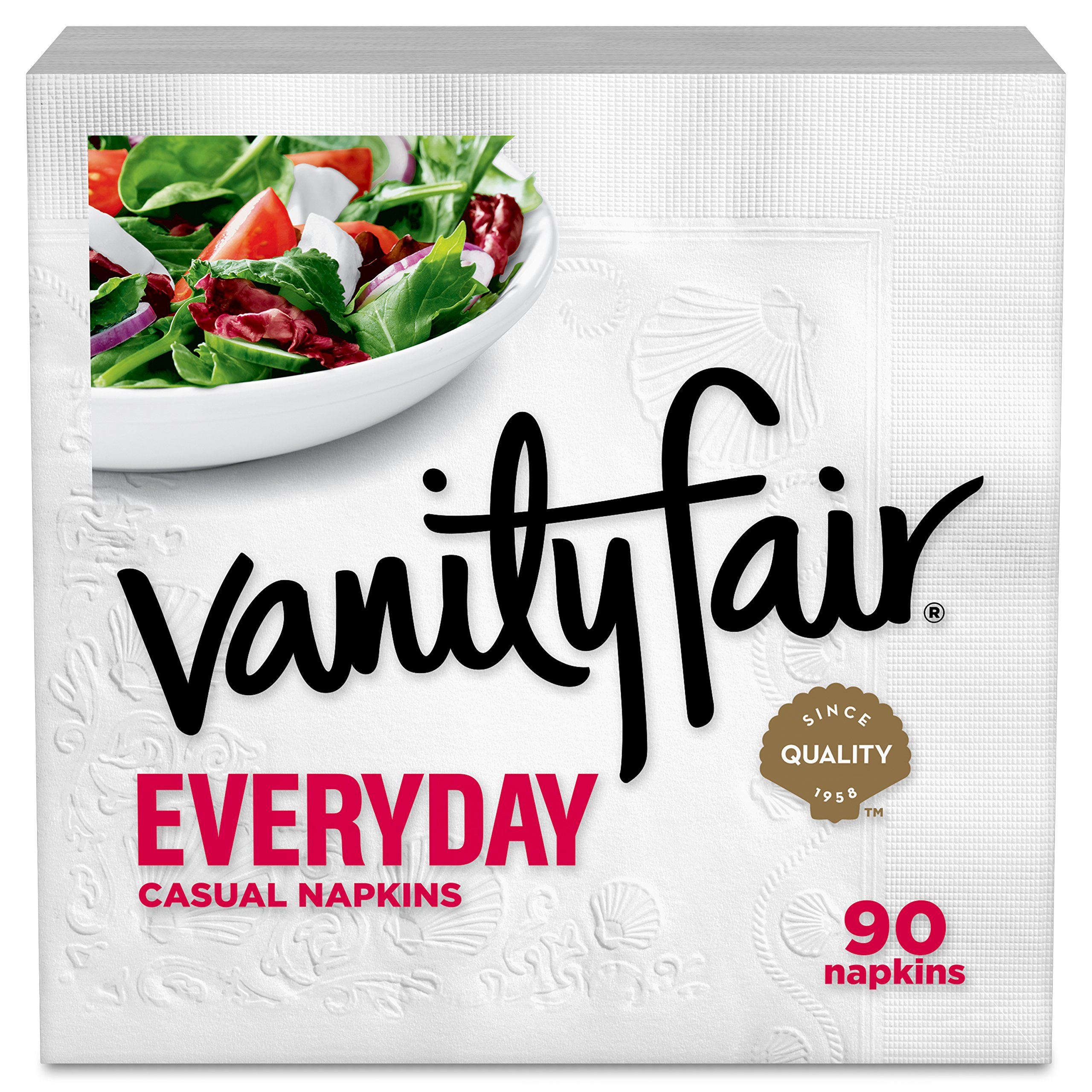 Vanity Fair Everyday Napkins, 1080 Count, White Paper Napkins, 12 Packs of 90 Napkins by Vanity Fair