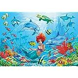 Sirena sott ' acqua FOTOMURALE - mondo sott ' acqua pesci delfini quadro da parete - XXL mondo del mare decorazione da parete - cameretta dei bambini bambina by GREAT ART (210 x 140 cm)