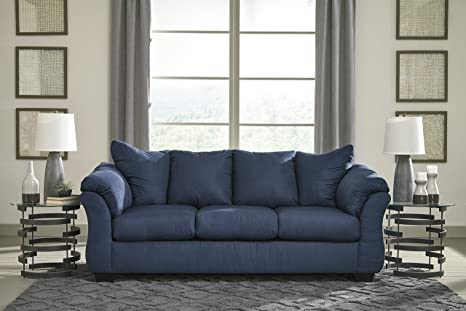 Darcy Contemporary Blue Color Microfiber Sofa