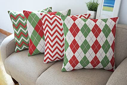 howarmer cotton linen christmas decorative pillows cover set 18x18 inch merry and bright green