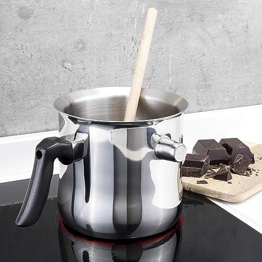 1,5 L Milchtopf mit Deckel Kochtopf Doppelkessel Doppelwandig mit Bakelitgriff Butter Schmelzen Custard Topf