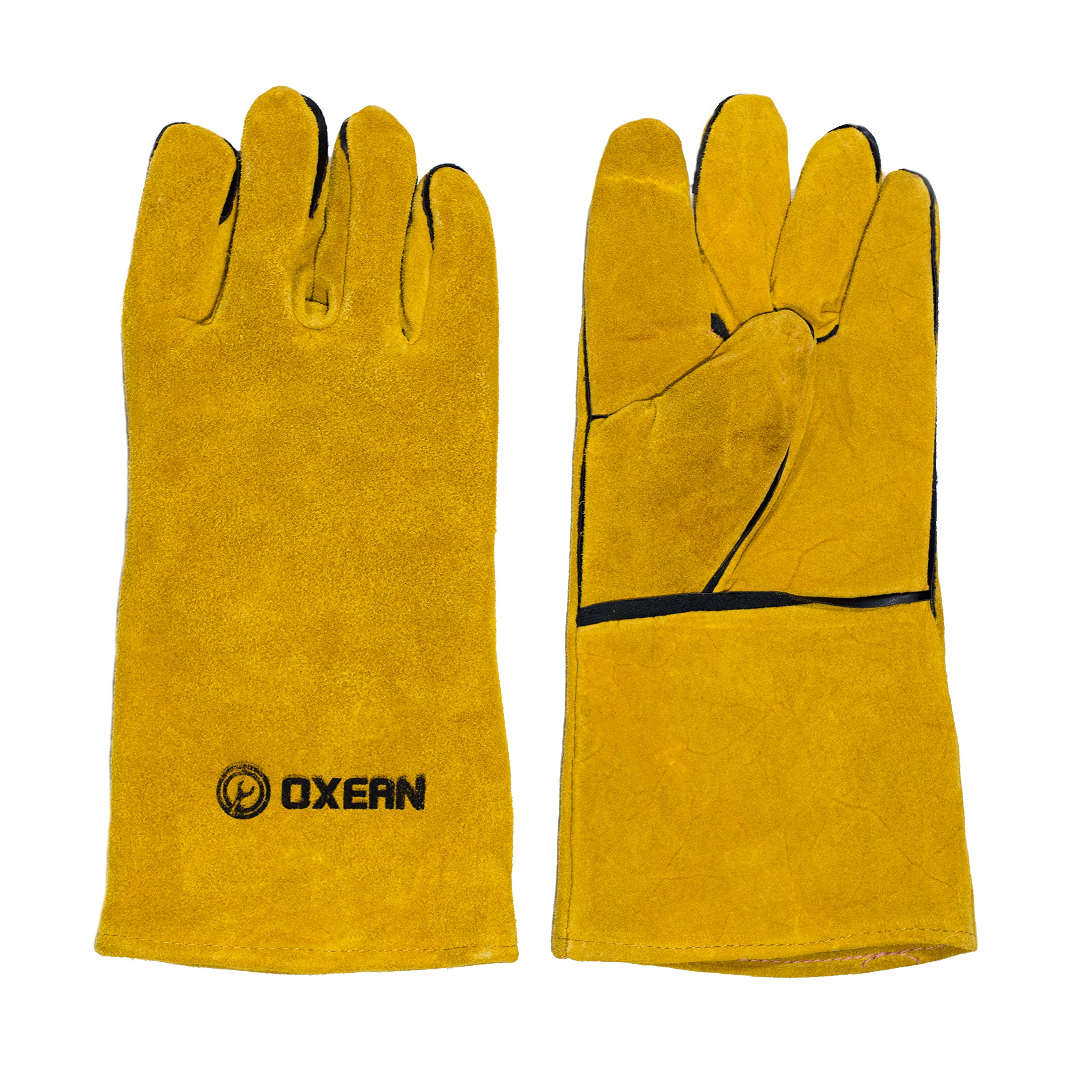 Oxean Professional Leather Welding Safety Gloves - 14'' Fire and Heat Resistant, Heavy Duty Double Stitching, Multi-Purpose - Work Glove
