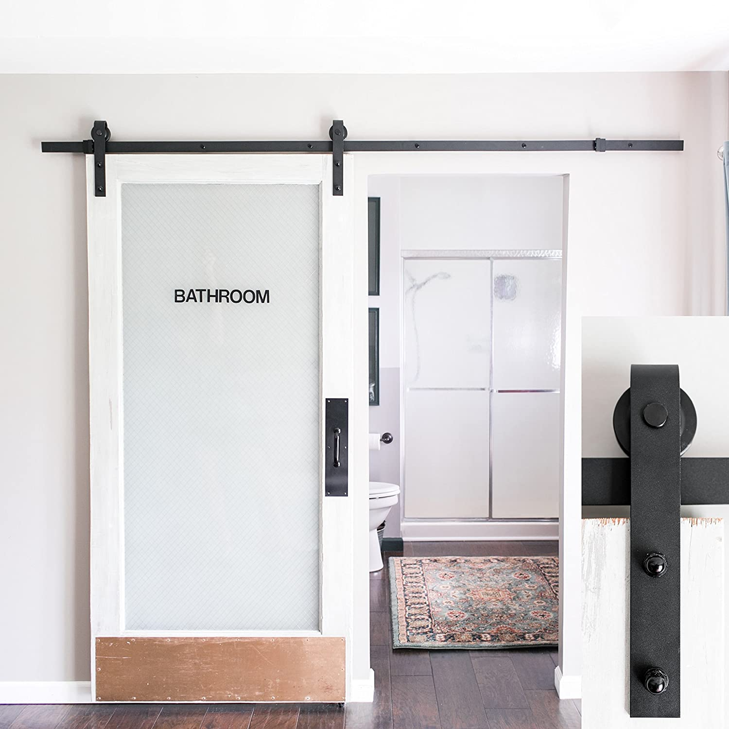 One piece garage door hardware - Amazon Com 8 Foot Heavy Duty Sliding Barn Door Hardware Kit Black Includes Easy Step By Step Installation Video Superior Quality One Piece Rail
