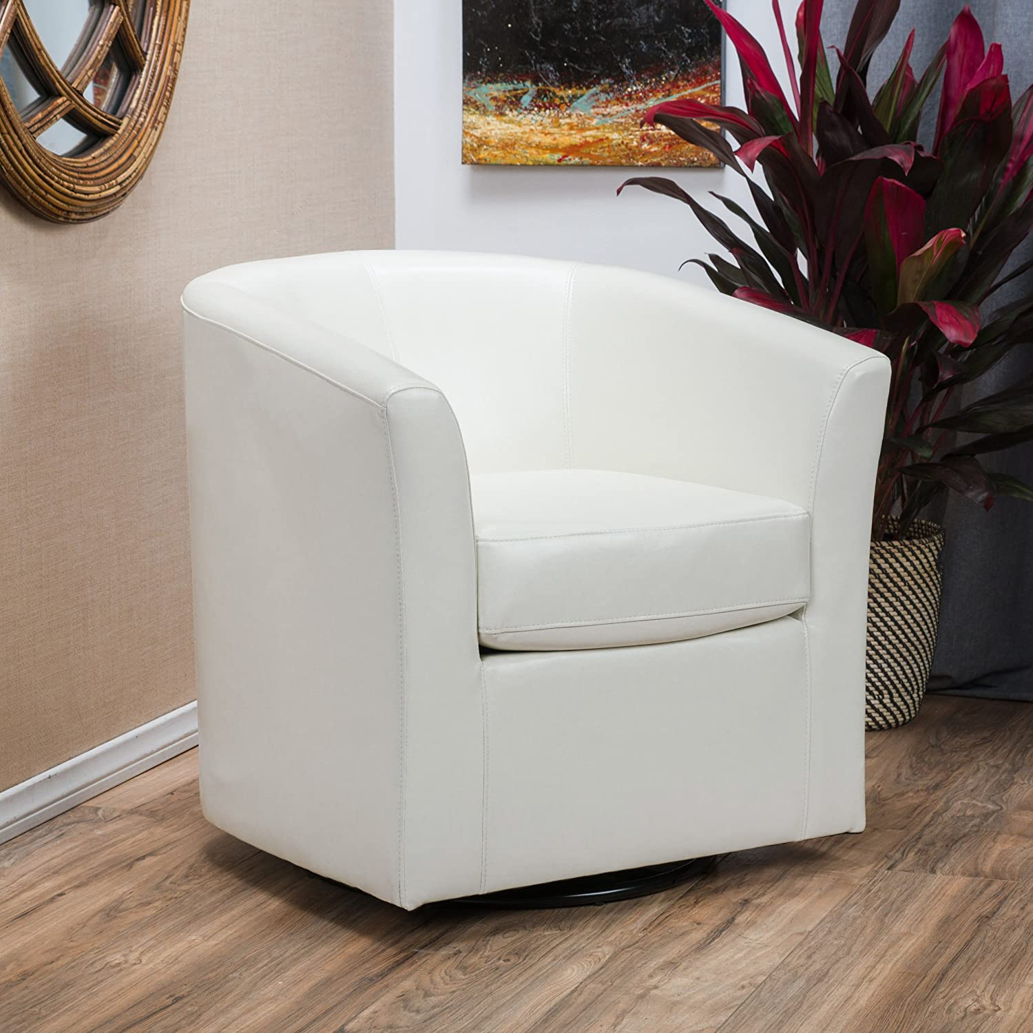 Amazon com great deal furniture corley off white leather swivel club chair kitchen dining