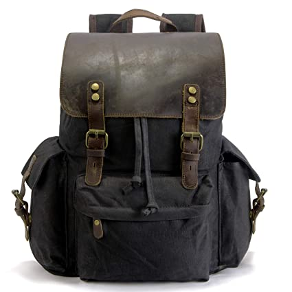 74aef5383997 SUVOM Vintage Canvas Backpacks Genuine Leather 15.6
