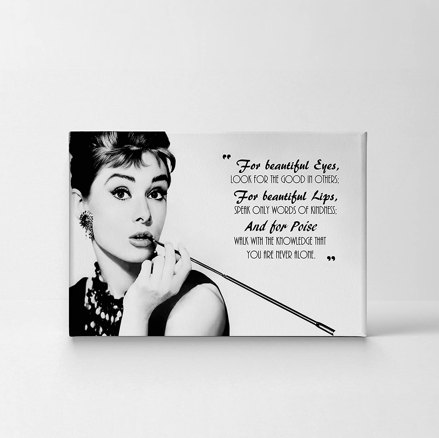 Audrey Hepburn Breakfast at Tiffany s Quotes Canvas Print Decorative Art Modern Wall D cor Artwork Stretched – Ready to Hang – 100 Handmade in the USA – 11×17