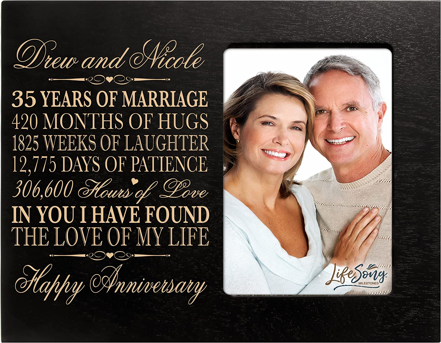 Amazon Com Lifesong Milestones Personalized 35th Year Wedding Anniversary Picture Frame Gift For Couple 35th For Her 35th Wedding For Him Photo Frame Holds 1 4x6 Photo 8 H X 10 W Black
