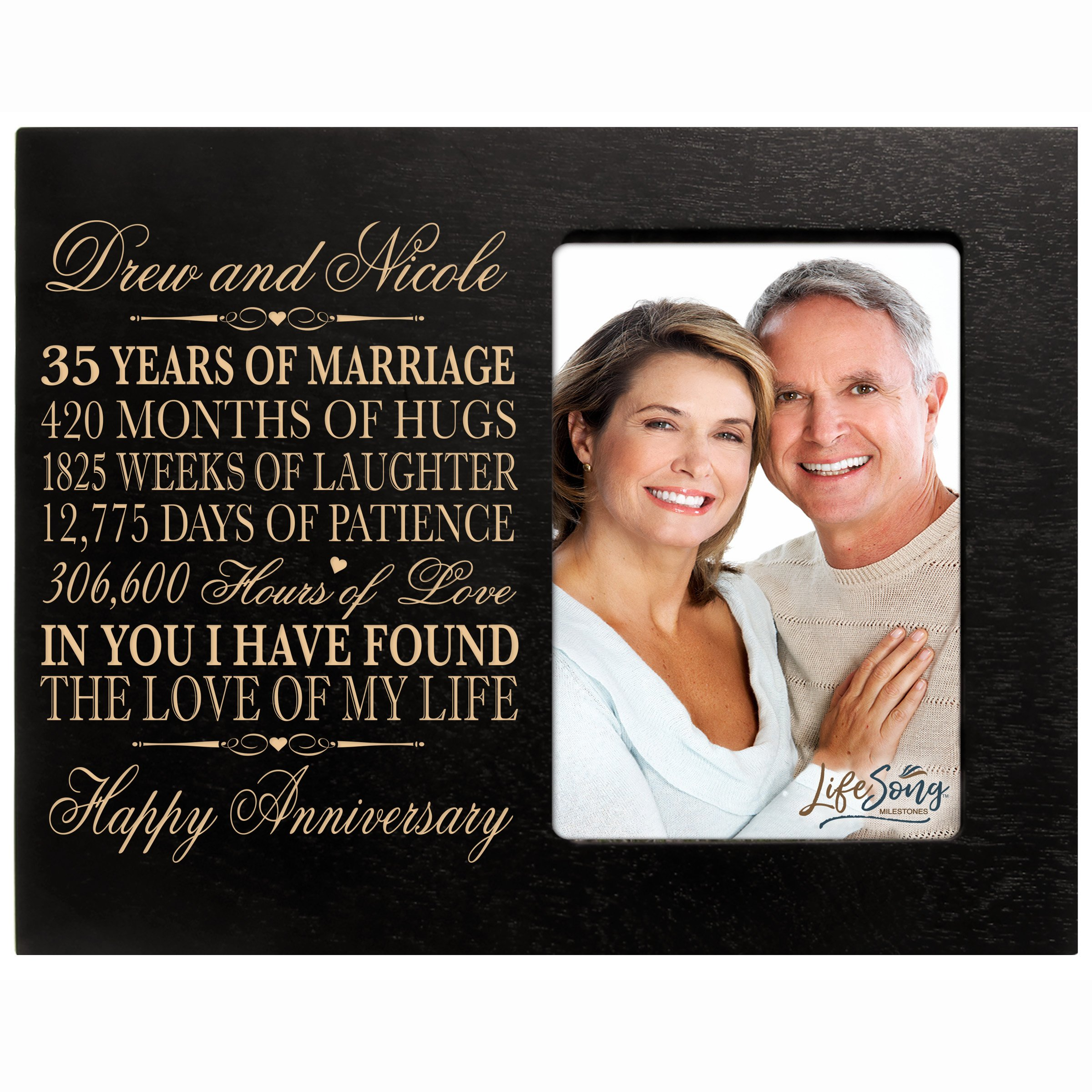 LifeSong Milestones Personalized 35th Year Wedding Anniversary Picture Frame Gift for Couple 35th for Her 35th Wedding for Him Photo Frame Holds 1 4x6 Photo 8'' H X 10'' W (Black)