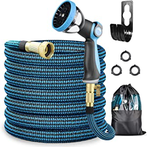 PANAPOO Expandable 50ft Garden Hose,New 2021 Durable 4-layer latex core,10 Function Spray Nozzle,Lightweight Expanding Hose,Hose with Solid Brass Connector,car washing, watering,Pet cleaning