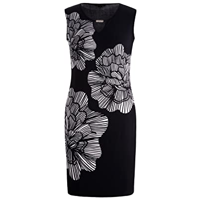 Chicwe Women's Plus Size Stretch Floral Printed Shift Dress - Keyhole and Metal Trim at Women's Clothing store