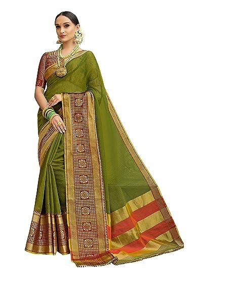 f9251c3848 Taanshi Self Design Kanjivaram Cotton Silk Saree (Green): Amazon.in:  Clothing & Accessories