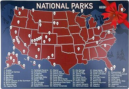 Amazon.com: US National Parks Map Fridge Magnet - Travel Map of the ...