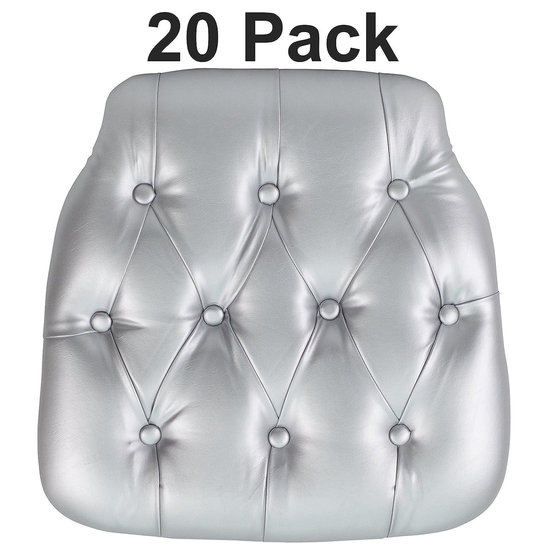 Hard Black Tufted Vinyl Chiavari Chair Cushion 20-SZ-TUFT-BLACK-GG Flash Furniture 20 Pk