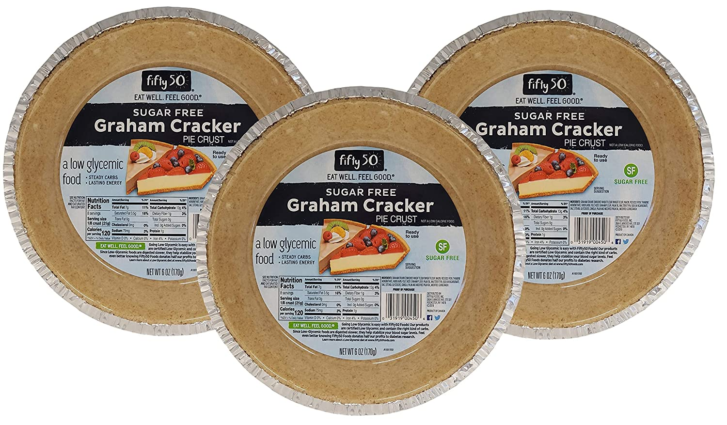 Fifty50 Foods Sugar Free Ready to Eat Graham Cracker Pie Crust, 6 Ounce (Pack of 3)
