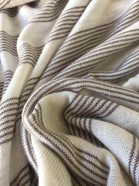 33b721c079f Ivory Striped Polyester Slub Sweater Knit Light Weight Fabric ...