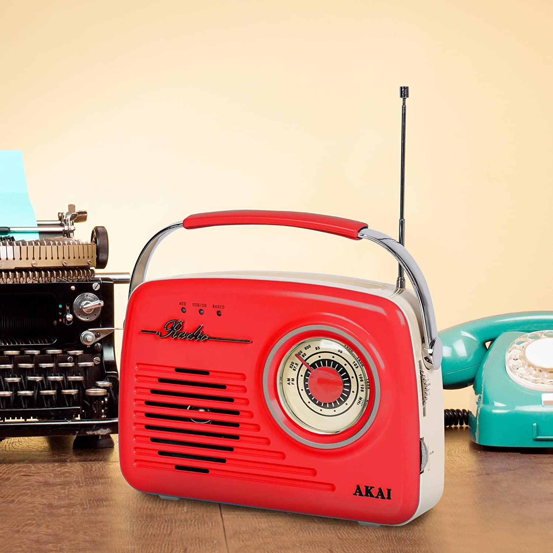Akai Red Am Fm Vintage Retro Radio Portable Design With Sd