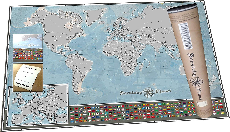 Scratchy Planet mapamundi para rascar en Formato Mini, mapamundi de rascar, mapamundi pequeño para rascar, Atlas de rascar, Mapa Internacional Scratch, versión pequeña: Amazon.es: Hogar