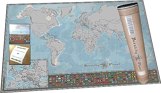 Scratchy Planet Weltkarte Zum Rubbeln Im Mini Format Rubbel