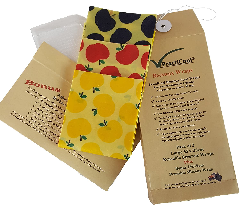PractiCool Reusable 3 Beeswax Food Wraps with Bonus Silicone Wrap