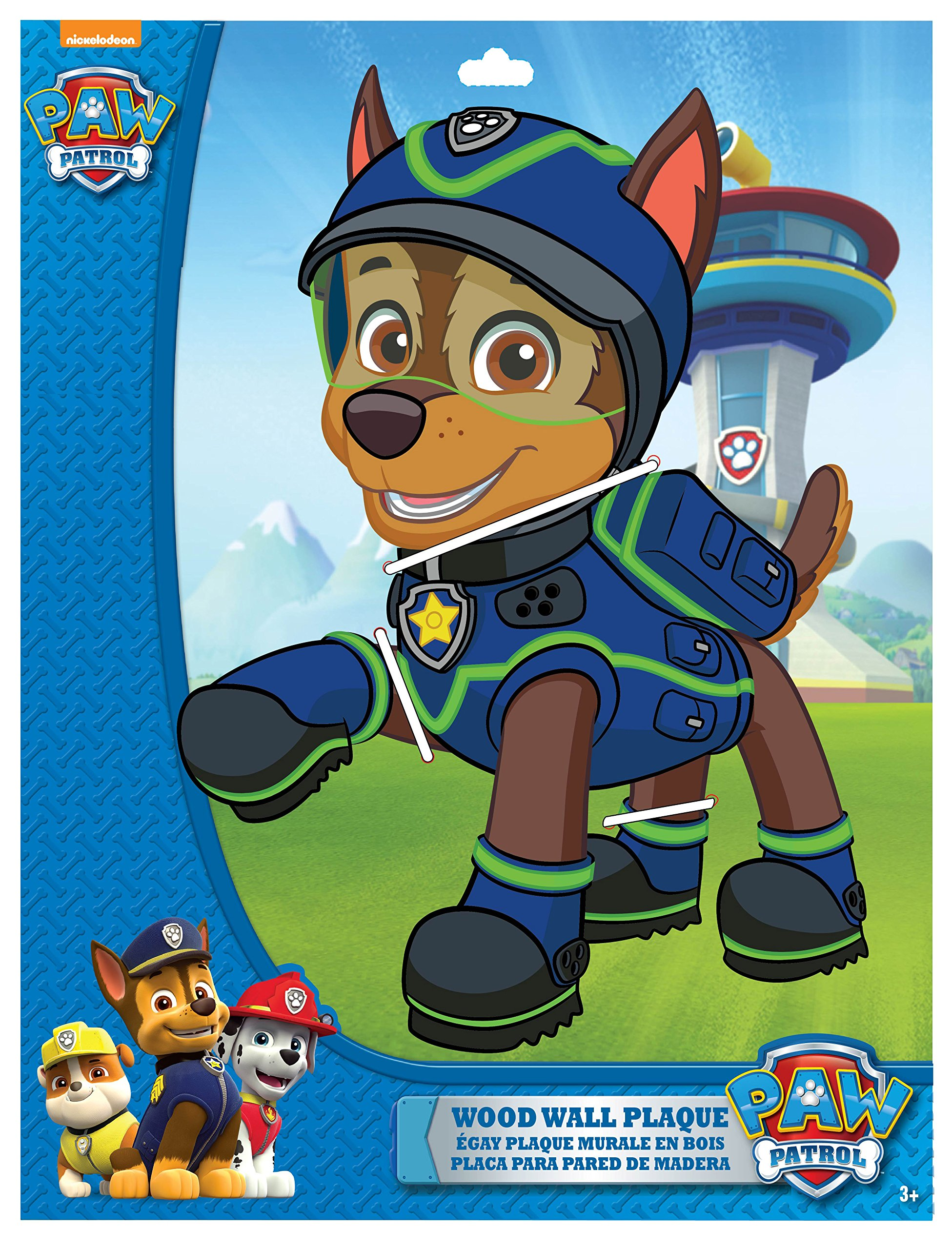 Edge Home Products Chase Paw Patrol 13 Inch 2-Layer Mdf Diecut Plaque, Blue