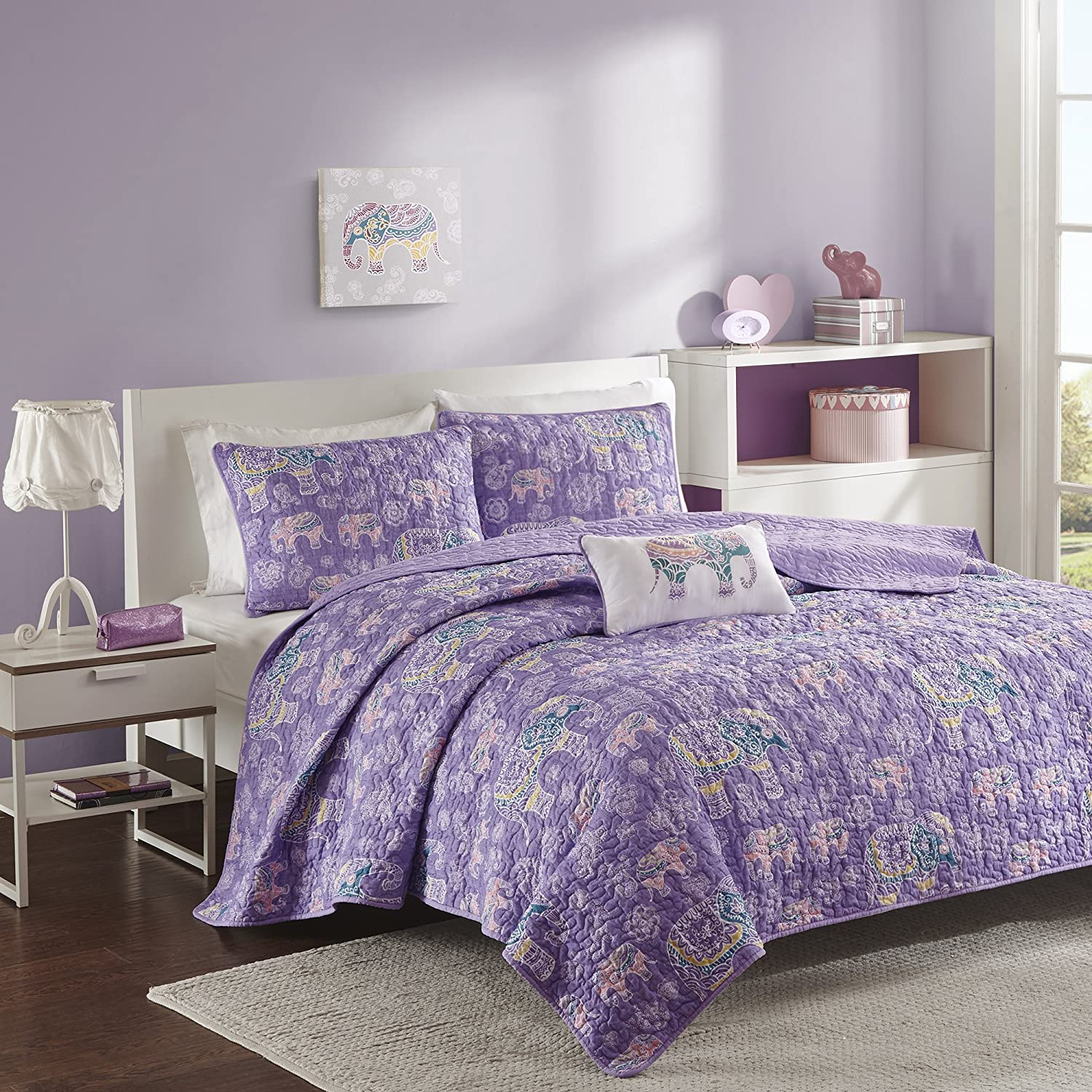 Mizone MZ80-471 Elly Coverlet Set Twin/Twin X-Large, Purple