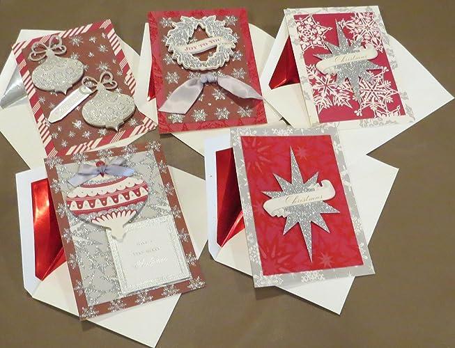 Anna Griffin Christmas Cards.Amazon Com Handmade 3d Anna Griffin Christmas Cards Red Silver