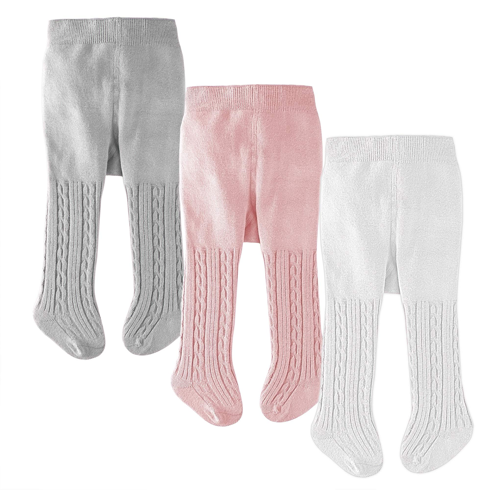 slaixiu Cotton Baby Girl Tights Cable Knit Seamless Toddler Leggings Pantyhose Pants Stockings 3-Pack(White&Pink&Gray_0-6 M)