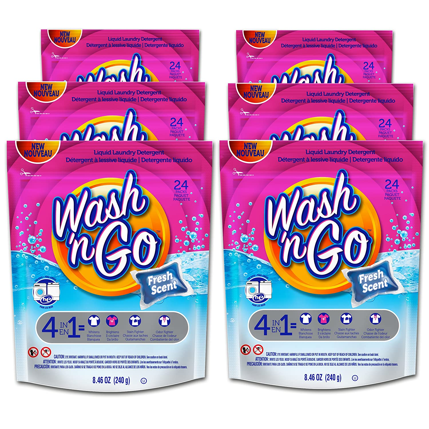 Amazon.com: Wash n Go Liquid Detergent Singles Fresh Scent, 24 Count x 6 (144 Count Total): Health & Personal Care