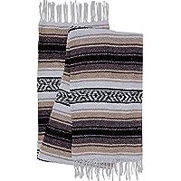 El Paso Designs Mexican Yoga Blanket Colorful 47in x 68in Yoga Studio Mexican Falsa Blanket Ideal for Yoga, Camping, Picnic, Beach Blanket, Bedding, Home Decor Soft Woven Serape