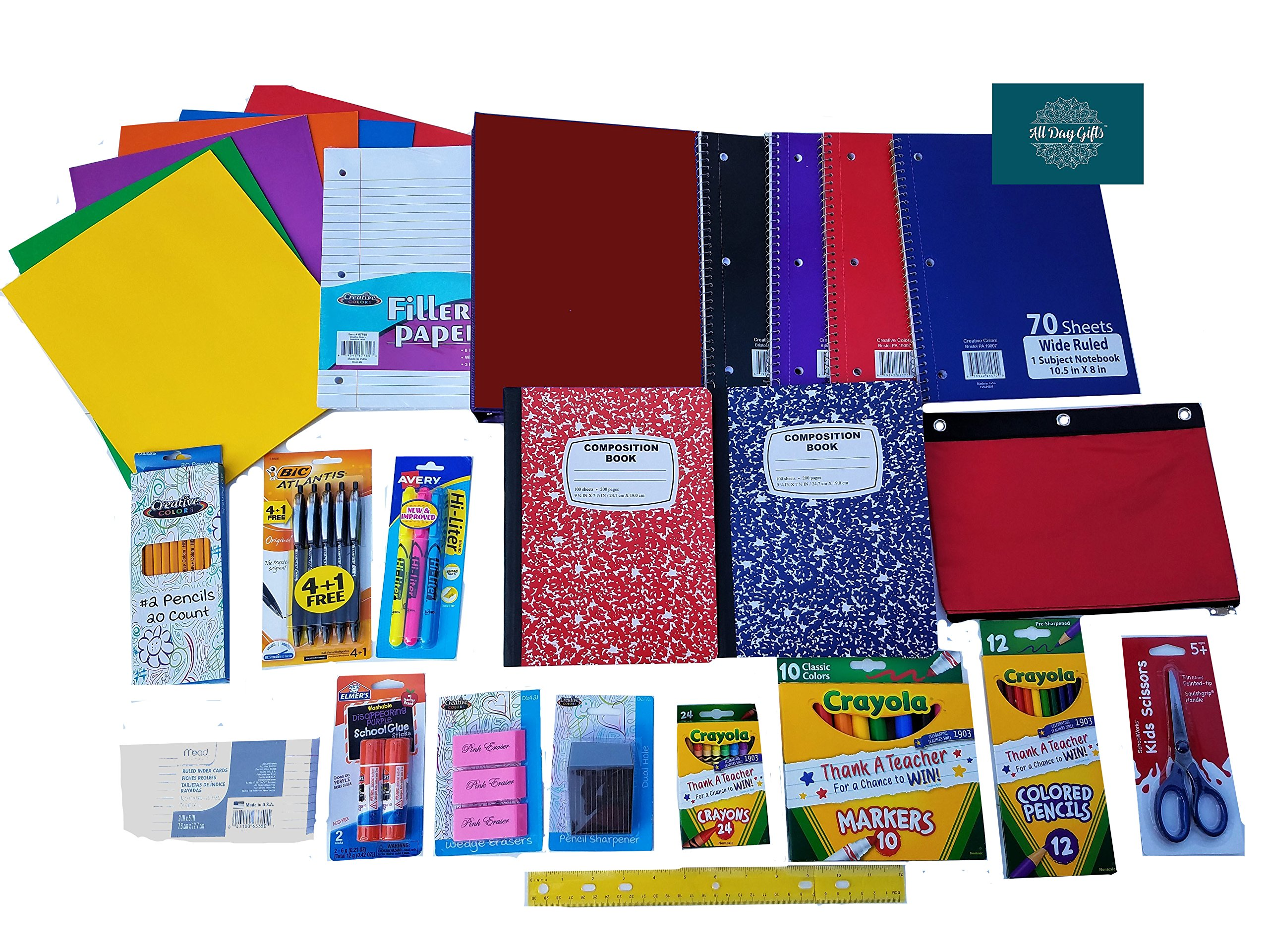 Over 50 Count School Supply Bundle For Elementary 3rd 4th 5th Grade Students By ALL DAY GIFTS-Binder,Pens,Pencils,Crayola Markers-Crayons,Folders,Note Books,Scissors,Erasers,Glue +More (Wide Ruled #4)