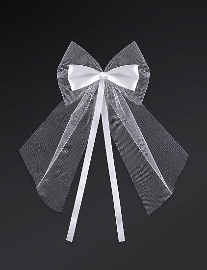 party decoration mariage noeud tulle et ruban satin blanc decoration voiture mariage lot de 2 noeud en satin et tulles blanc pour votre voiture
