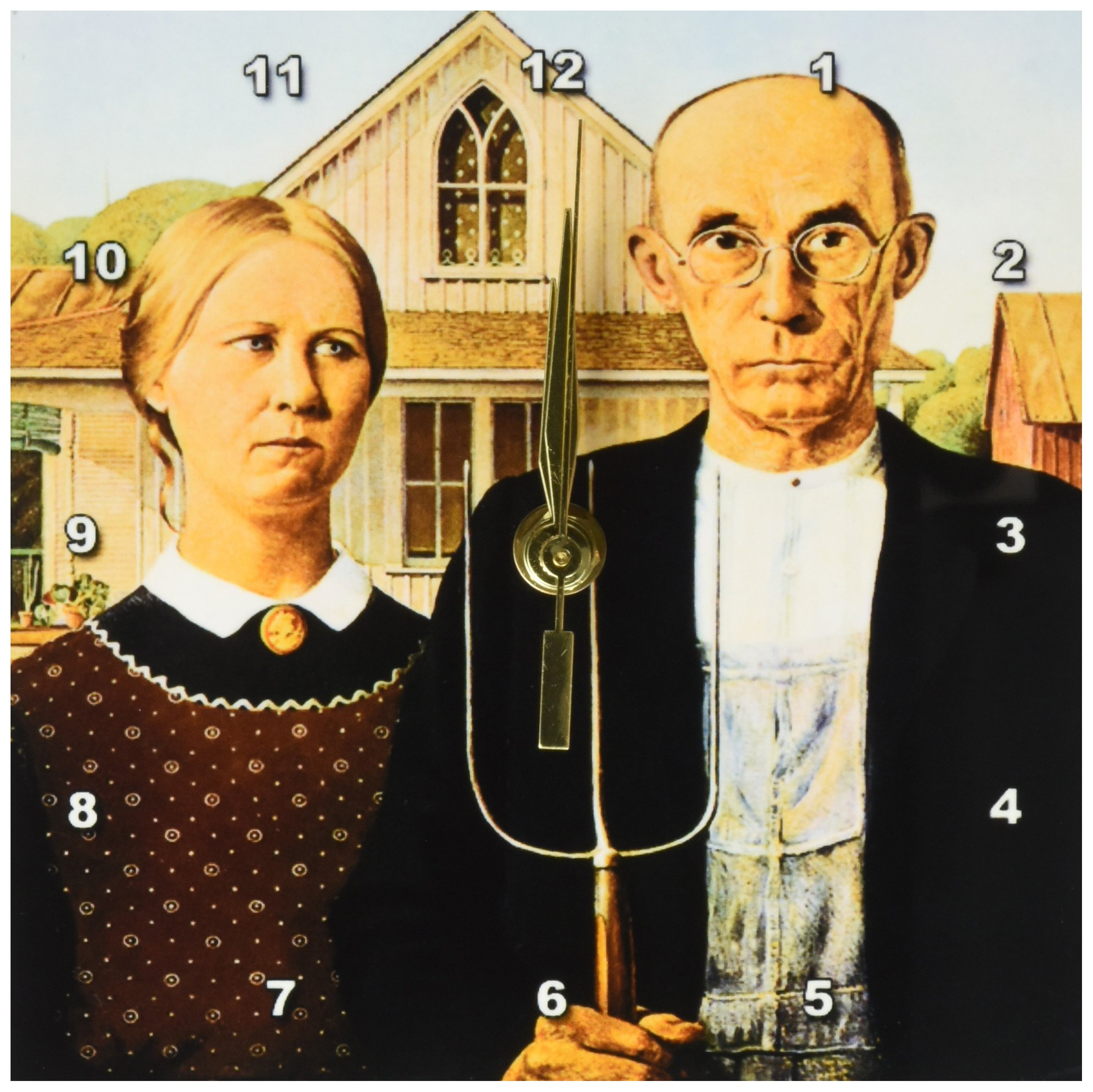 3dRose dc_130186_1 American Gothic by Grant Wood Desk Clock, 6 by 6'' by 3dRose (Image #1)