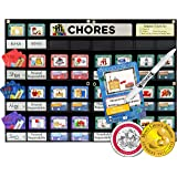 NEATLINGS Chore Chart System | Reward & Responsibility | Customize for 1-3 kids | 76 Unique Chores! | Teal Household Chore Cards / Purple, Pink, & Dark Blue Self-Care Chore Cards