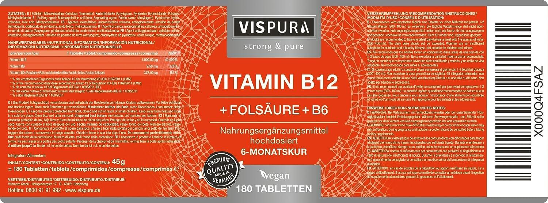 Vitamina B12 altamente concentrada, 1000 µg con fórmula VITAL + vitamina B6 metilcobalamina, 180 comprimidos VEGANOS, producto alemán de calidad premium y ...