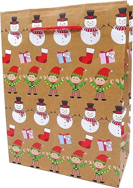 Pack de 3 bolsas de regalo de Navidad con diseño de muñeco de nieve y elfo con asas de cordón rojo, 32 x 26 x 10 cm, tamaño grande: Amazon.es: Oficina y papelería