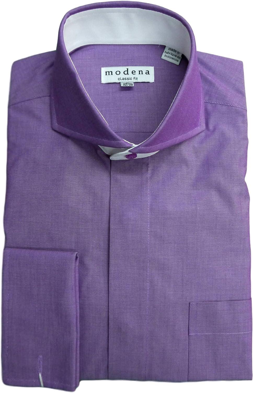 Modena Mens Solid Cutaway Collar French Cuff Dress Shirt