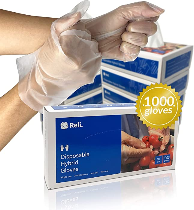 Reli. Disposable Gloves, X-Large (1000 Pack Bulk) (M/L/XL Available), Hybrid Plastic Gloves Disposable - Latex Free / Powder Free, Clear Disposable Gloves for Hand Protection / Food Handling (XL)