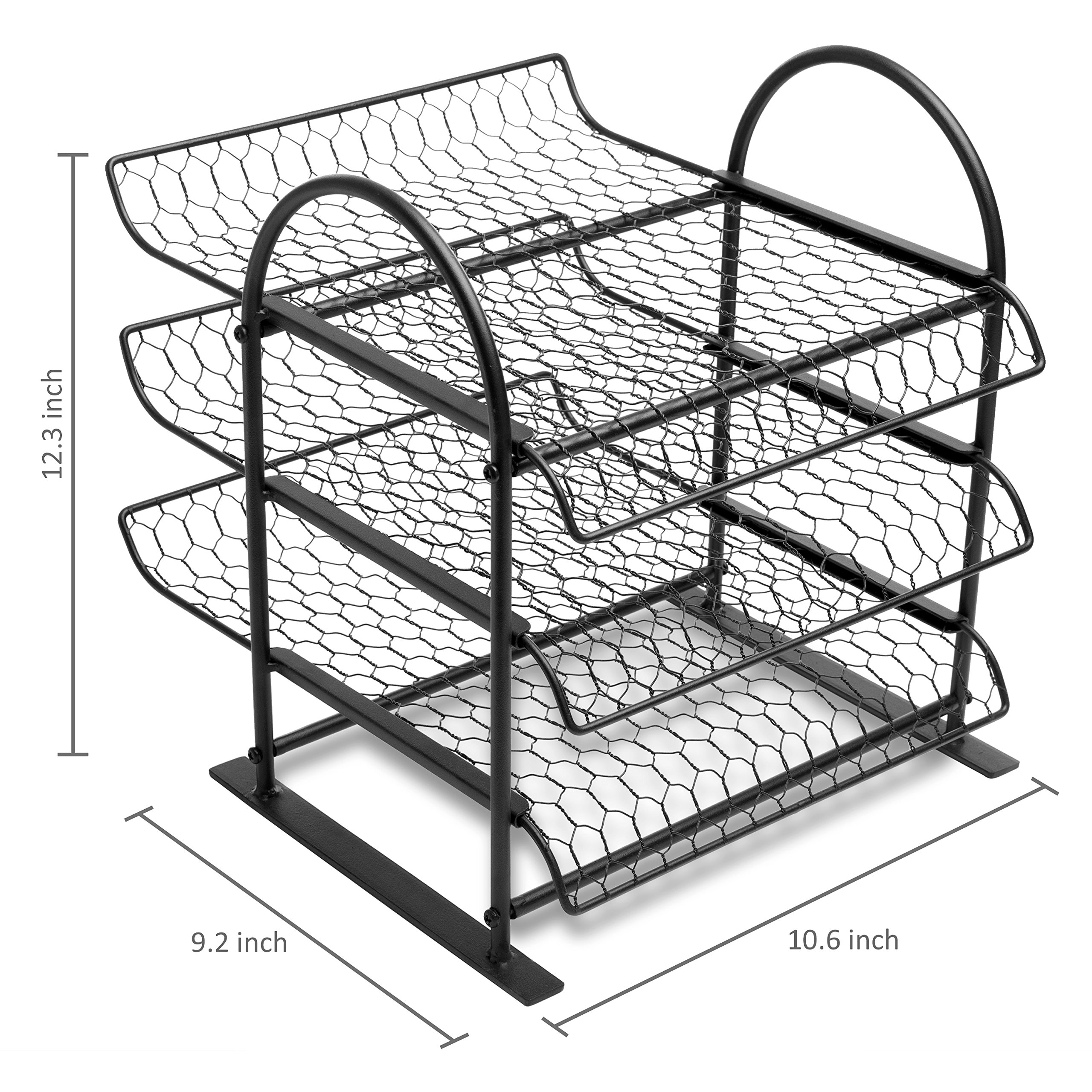 MyGift Metal Chicken Wire Office Document File Organizer with 3-Tier Sliding Trays by MyGift (Image #6)