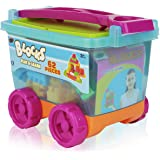 62 Pieces Plastic Play and Learn Childrens Colored Blocks in Take along wagon; Large Size Colored Builders Bloks; Brilliant Basics Baby's First Blocks