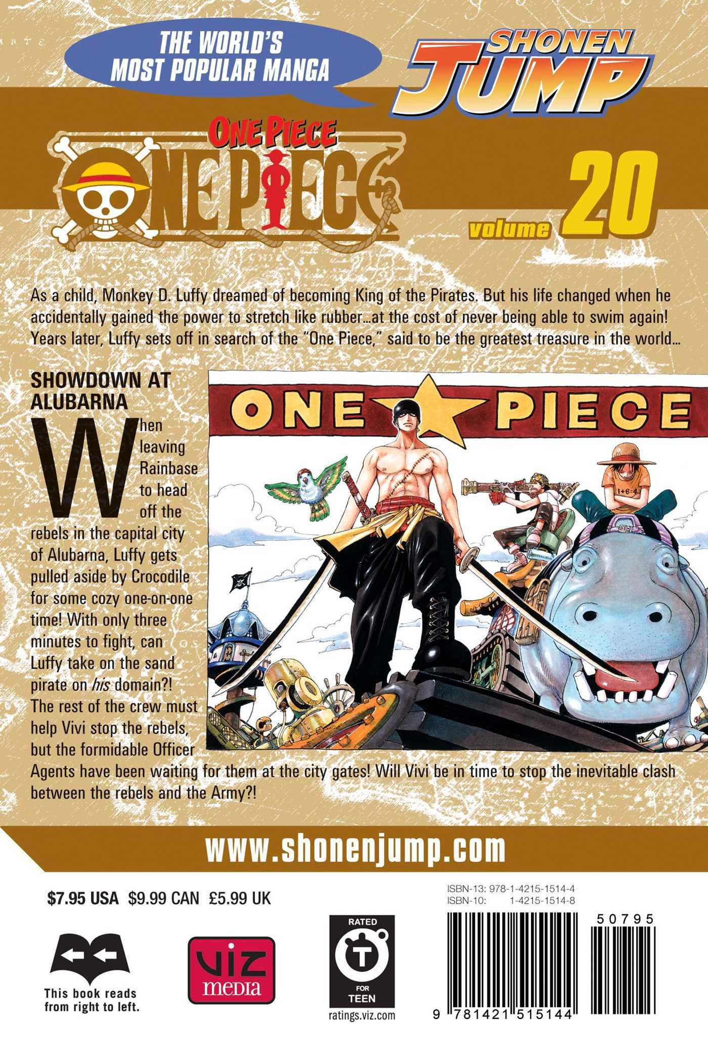 Amazon: One Piece, Vol 20: Showdown At Alubarna (9781421515144):  Eiichiro Oda: Books