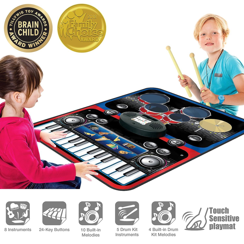 PicassoTilesポータブル2イン1ドラムピアノコンボPlay Mat教育Musical Playmat w 8楽器、5ピースドラムセット、10デモ曲、24-keyキーボード、内蔵スピーカー、レコードと再生関数 B071GS169K
