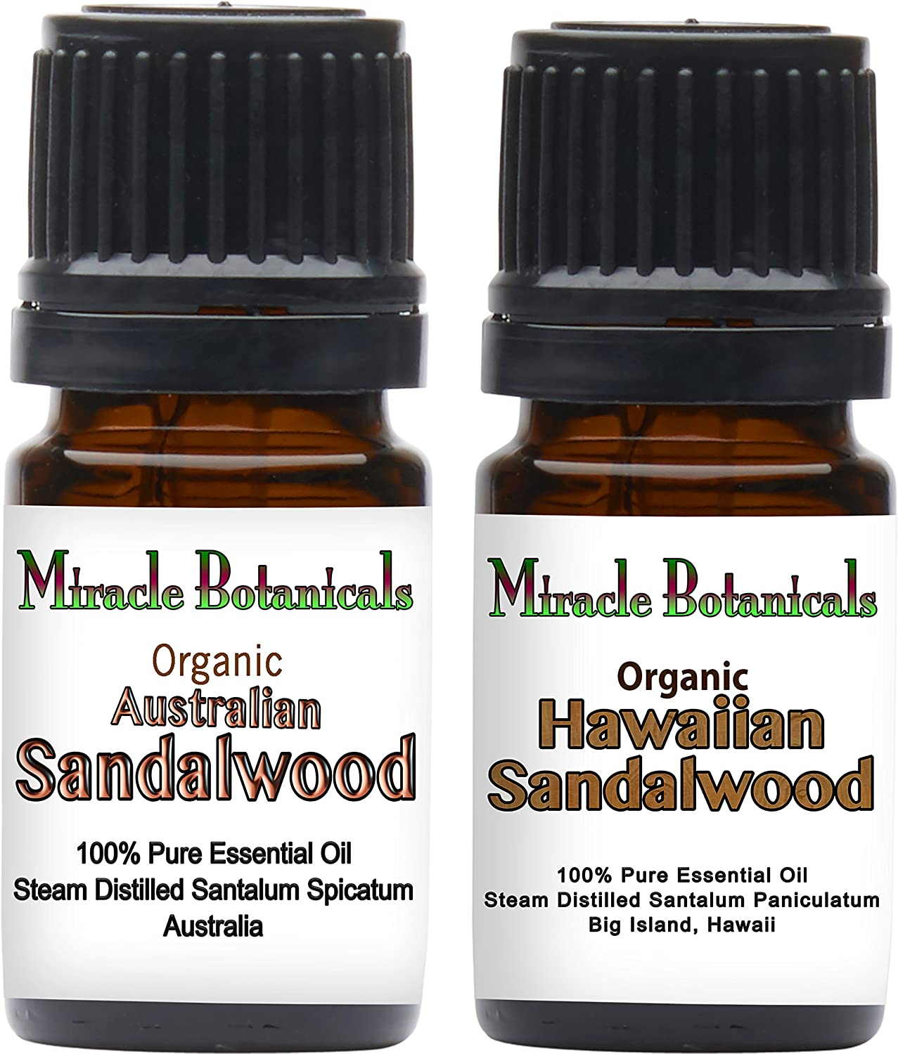 Miracle Botanicals Organic Sandalwood Essential Oil Set - 100% Pure Therapeutic Grade - (2)5ml