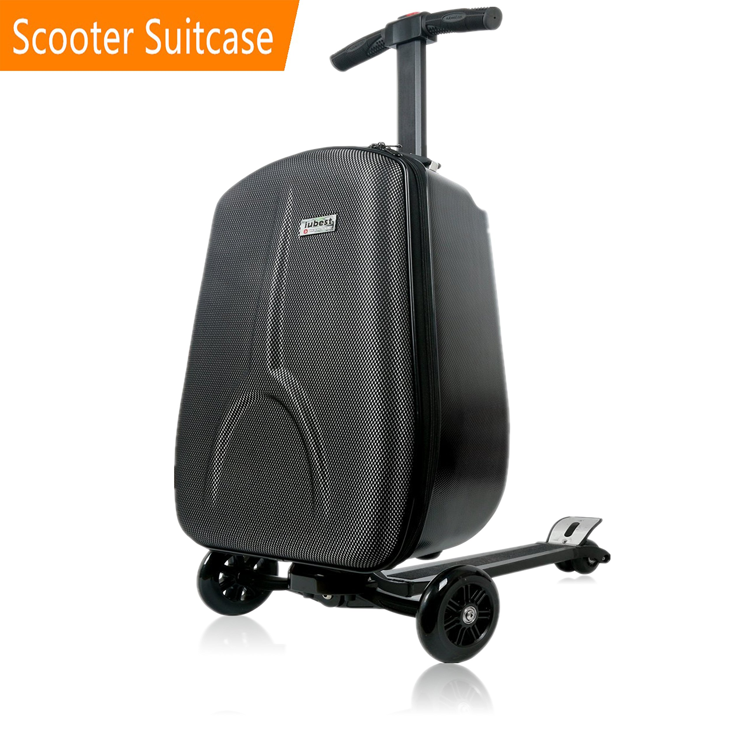 scooter suitcase by iubest, travel scooter luggage, multi functional suitcase, perfect for business travel and school, black, 50 liter, 18 inches
