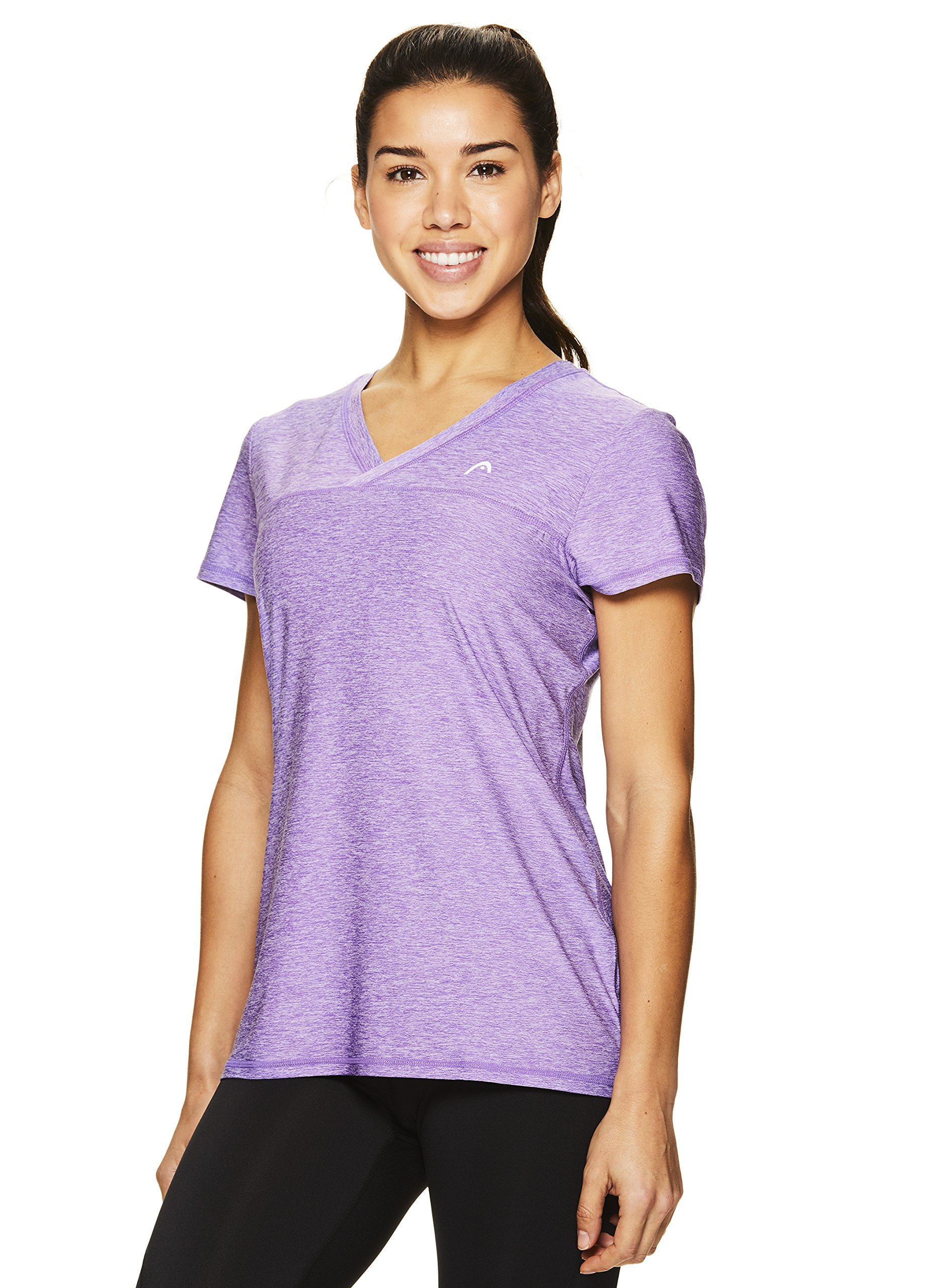 HEAD Women's High Jump Short Sleeve Workout T-Shirt - Performance V-Neck Activewear Top - Chive Blossom Heather, X-Small by HEAD (Image #2)