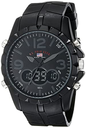 7f352aed22a Amazon.com  U.S. Polo Assn. Sport Men s US9058 Black Analog-Digital ...