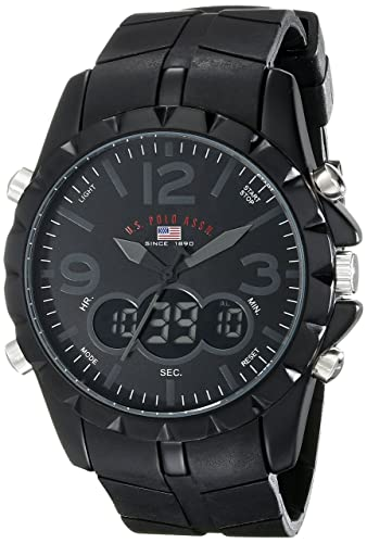 amazon com u s polo assn sport men s us9058 black analog amazon com u s polo assn sport men s us9058 black analog digital watch watches