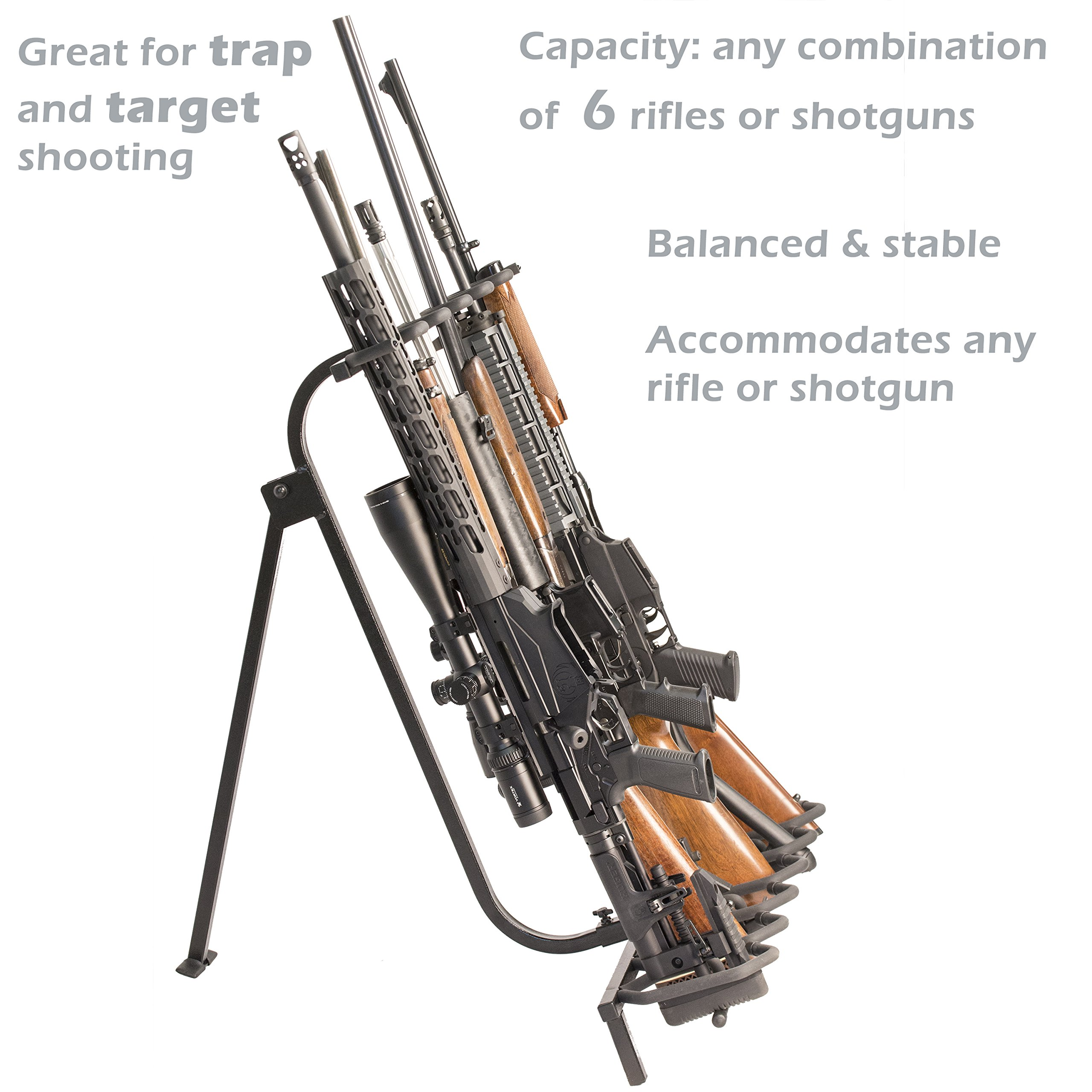 Hold Up Displays Portable Gun Rack and Bow Holder - Tactical Freestanding Folding Firearm Stand Holds Any Rifle or Bow - Keeps Guns Organized at The Shooting Range - Made in USA with Heavy Duty Steel by Hold Up Displays (Image #3)